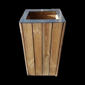 poubelle urbaine bois couvercle wood open